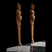 Pair of Antique Carved Wood Spanish Mannerist Caryatids