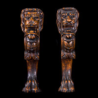 Pair of Antique Lion Monopodia in Carved Walnut