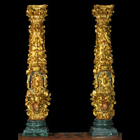 Pair of Gilded Wood Columns