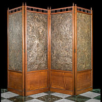 Arts And Crafts Leather Walnut Room Screen | Westland London