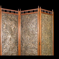 Antique Arts & Crafts leather abd walnut room screen