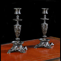 Pair Antique Bronze Candlesticks | Westland London