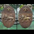 Antique Pair of Heraldic Armorial Cast Iron Plaques with Lions
