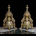 Pair Antique Bronze Louis XIV Firedogs