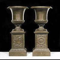Pair Victorian Cast Iron Small Garden Urns | Westland London