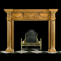 Georgian Style Columned Antique Wood Fireplace | Westland London