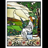 Art Nouveau stained glass window.