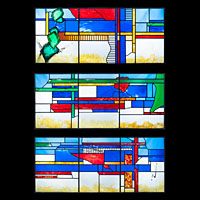 A stained glass window triptych.