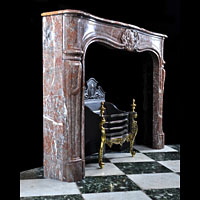French Red Marble Rococo Antique Fireplace | Westland London