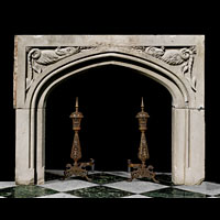 Antique Stone Tudor Gothic English Fireplace Mantel