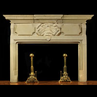 Antique Stone Baroque Lion Fireplace Mantel | Westland Antiques