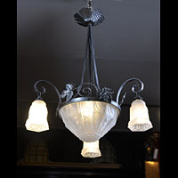 Art Deco Bronze Glass Antique Ceiling Light | Westland London