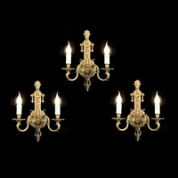 Three French Twin Branch Bronze Wall Lights | Westland London