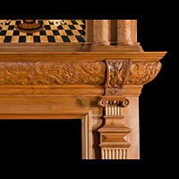 Jacobean Revival Inlaid Antique Wood Fireplace | Westland London