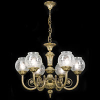 Six Branch Etched Glass Chandelier | Westland London