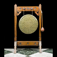 Antique oak and metal dinner gong