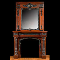 Tall French Antique Wood Victorian Fireplace | Westland London