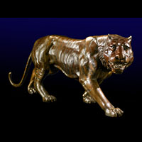 A bronze20th century model of a tiger