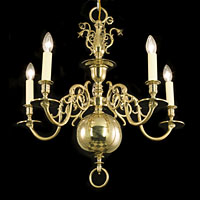 Dutch Brass Chandelier Four Branch | Westland London