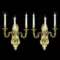 Pair French Brass Wall Lights | Westland London