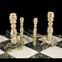 Large American Baroque Brass Andirons | Westland Antiques