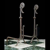 Jacobean Style Tall Antique Iron Andirons | Westland London