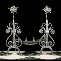 Wrought Iron Arts And Crafts Andirons | Westland Antiques