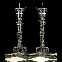 Gothic Revival Victorian Iron Andirons | Westland Antiques