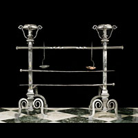 Large Wrought Iron Jacobean Andirons | Westland London