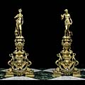 Renaissance Antique Brass Figural Andirons | Westland London