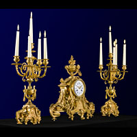 French Gilt Bronze Mantel Clock Garniture | Westland Antiques