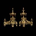 Rams Head Bronze French Antique Chenets | Westland London