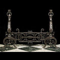 Jacobean Style Pair of Wrought Iron Andirons | Westland Antiques