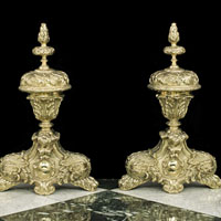 Baroque Brass Antique Chenet Fire Dogs | Westland London