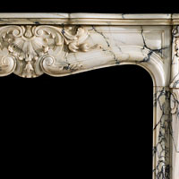 Arabascato Marble Rococo Fireplace Mantel | Westland Antiques.