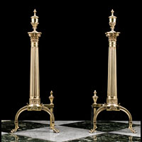 Georgian Style Pair Of  Brass Andirons | Westland Antiques