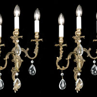 Rococo Glass Brass Four Wall Lights | Westland London