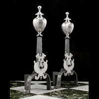 Wrought Iron Silver Plated Brass Andirons | Westland London