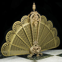 Peacock Brass Rococo Fire Screen | Westland Antiques