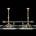 Etched Brass Baroque Tall Antique Andirons | Westland London
