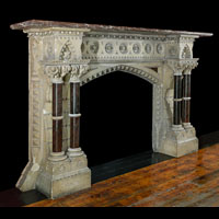 Gothic Revival Caen Stone Antique Fireplace | Westland London