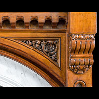 Gothic Revival Oak Antique Fireplace Mantel | Westland London