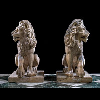 Pair Antique Terracotta Garden Lions | Westland Antiques