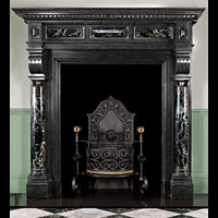 Tall Black Fossil Marble Flemish Fireplace | Westland Antiques