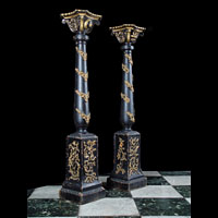 Antique Pair of Baroque Carved Wood Pedestals