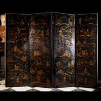 Antique Oriental Lacquered Screen